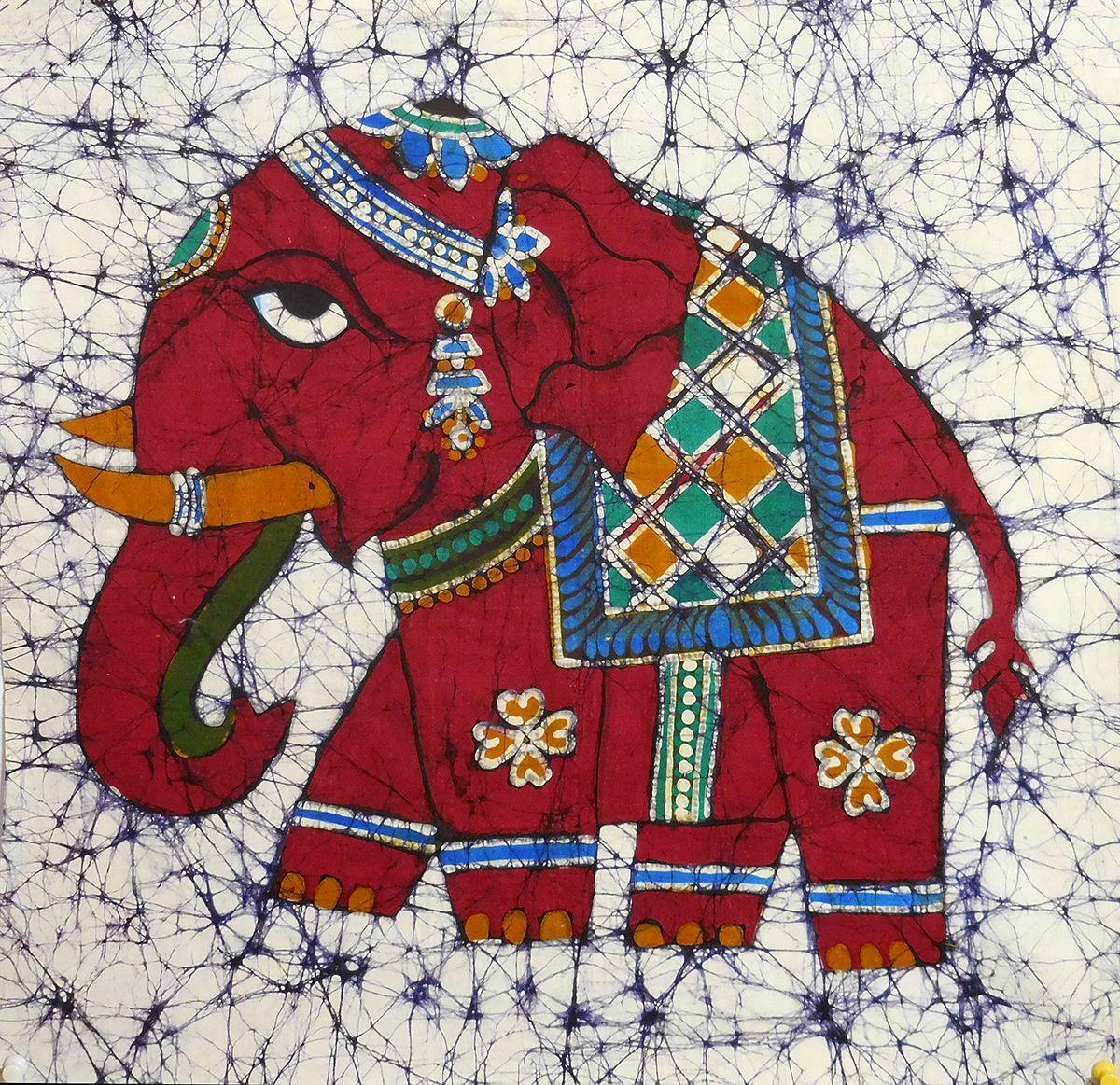 Royal Elephants - Batik Painting