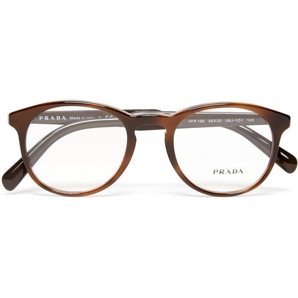 Prada Round-Frame Acetate Optical Glasses ($210) ❤ liked on ...