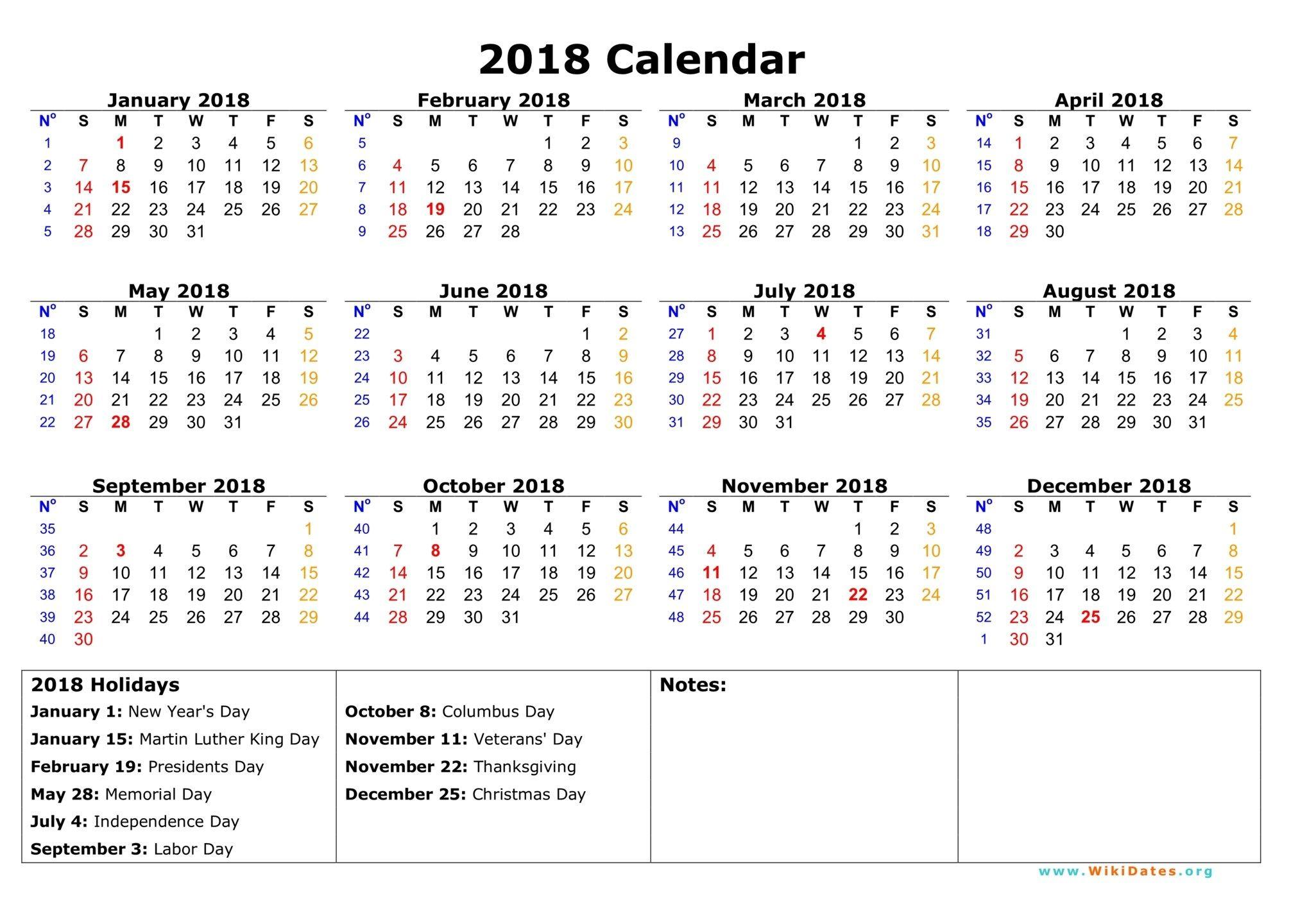 free calendar print out 2018