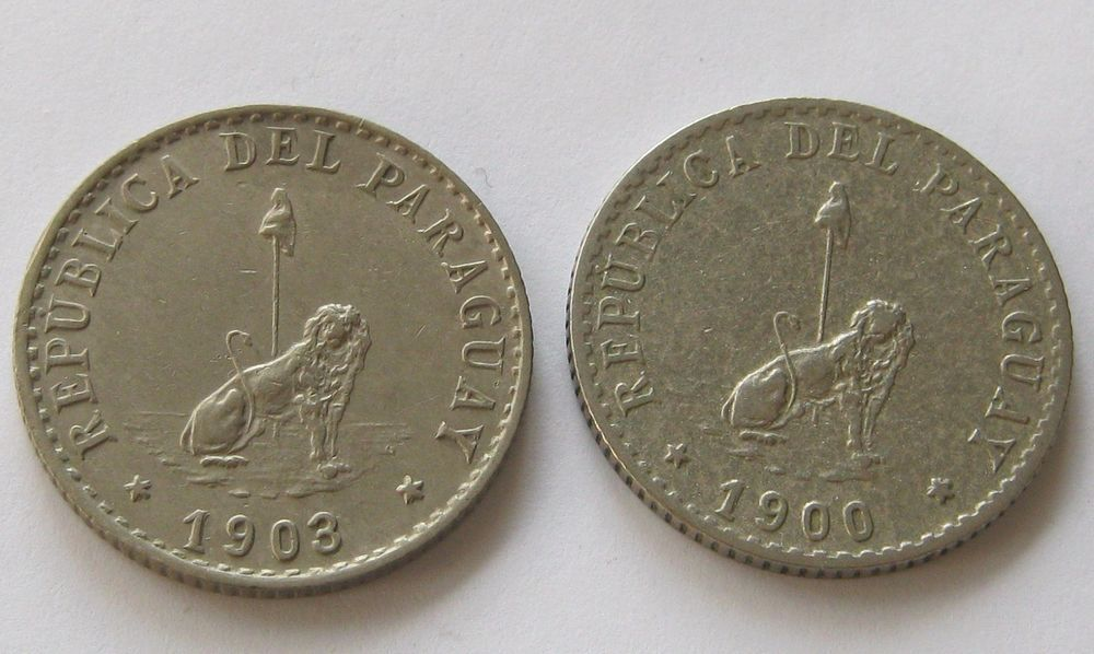 Paraguay, 2 Coins, 20 Centavos 1900 and 1903, Top High Grade!