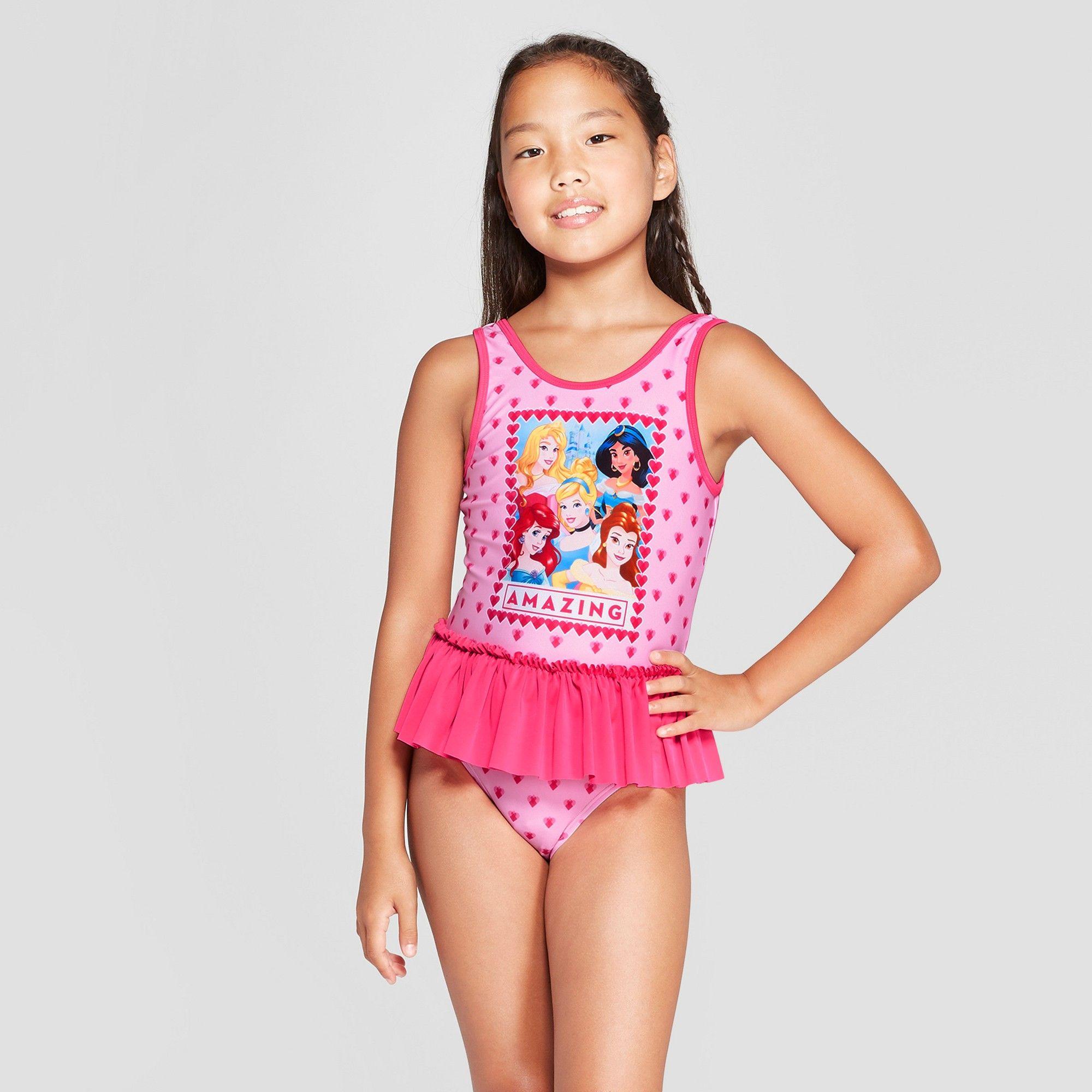 ca7fd04d52259 Girls' Disney Princess One Piece Swimsuit - Pink XS in 2019 | Frill ...
