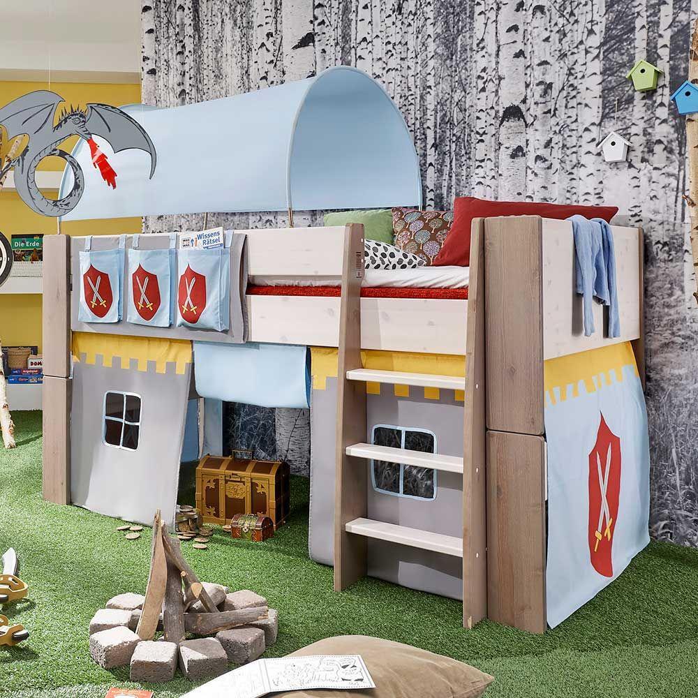 Halbhochbett im Ritterburg Design Kiefer Massivholz (4-teilig) Jetzt ...