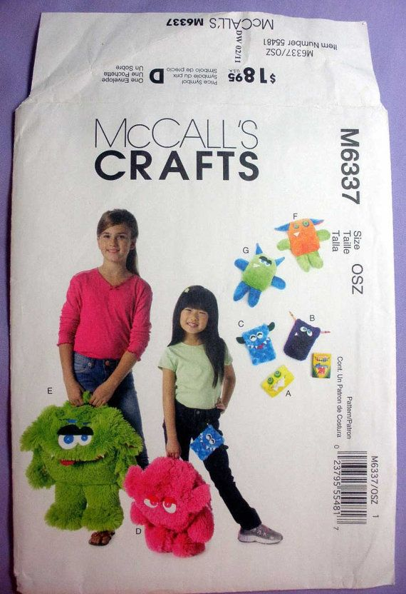 McCall\'s M6337 Children\'s Monster Backpack, Tissue and Crayon Cases ...