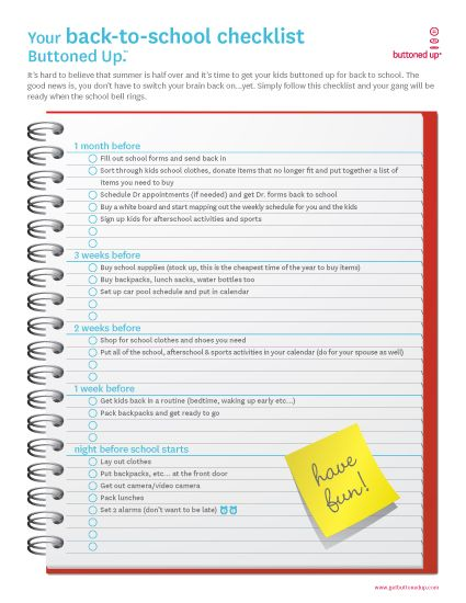 back to school checklist education  back to school  beg of - free printable school forms