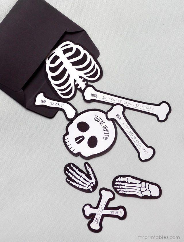 Skelett Bastelei Free Halloween Invitations Printable Halloween Invitations Printable Halloween Party Invitations