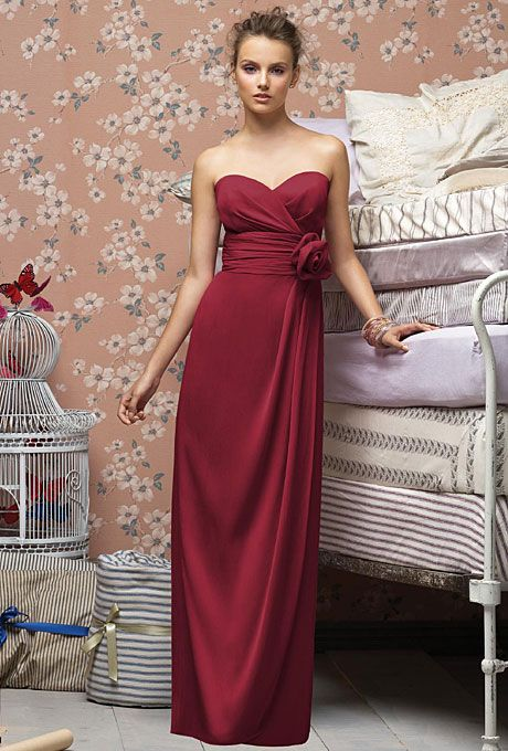 Long, Strapless Bridesmaid Dresses in Every Color | Rose bridesmaid ...