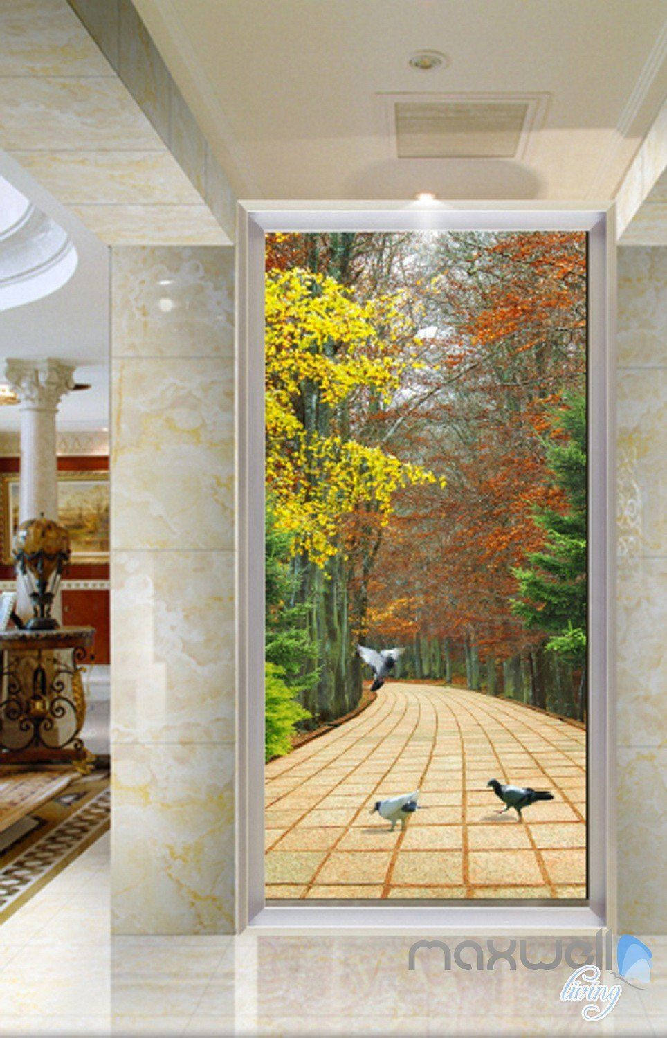 3D Autumn Forest Road Corridor Entrance Wall Mural Decals