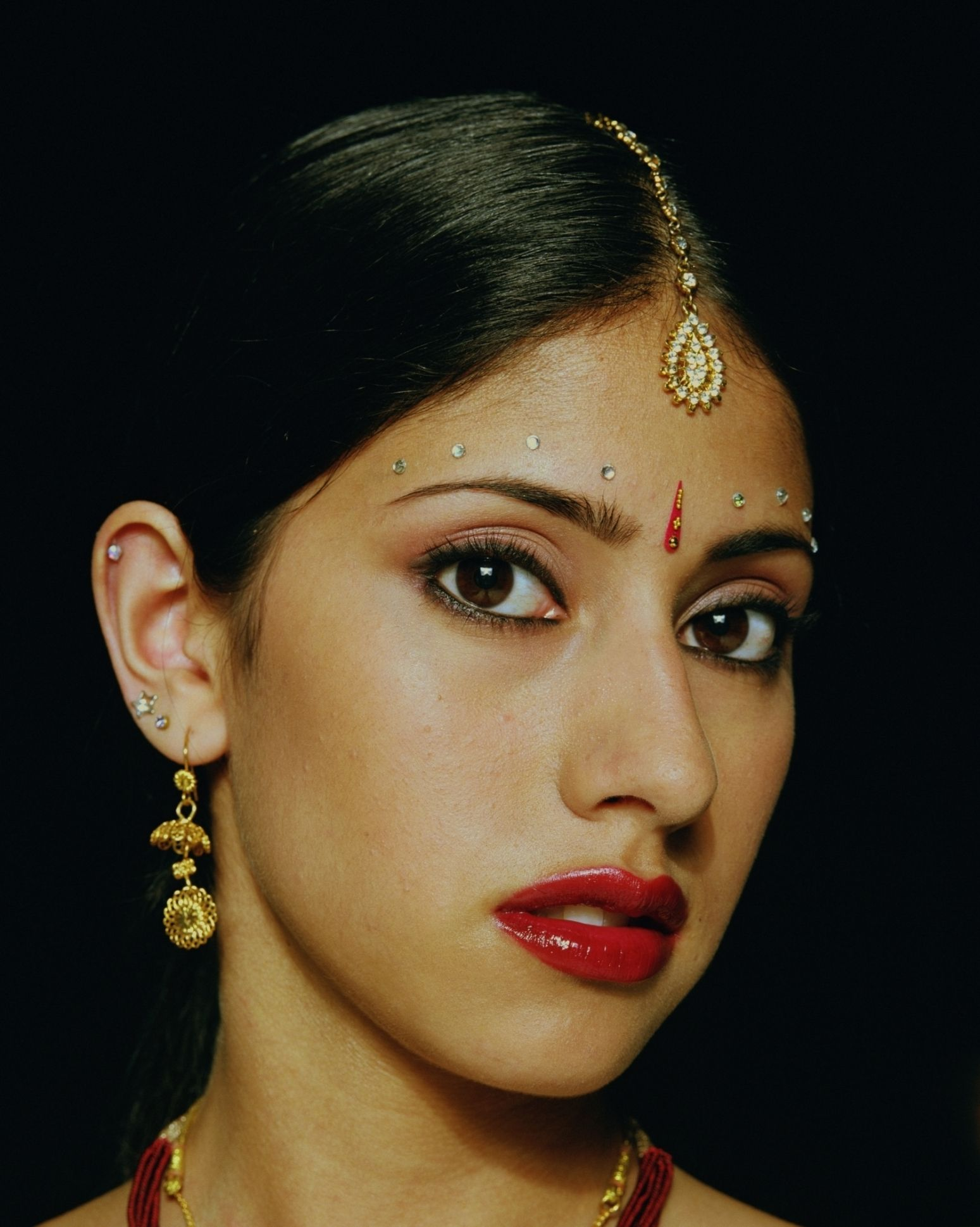 A Bindi Is Forehead Decoration Indians Wear The Red Dots And Jewels They On Their Foreheads Are S