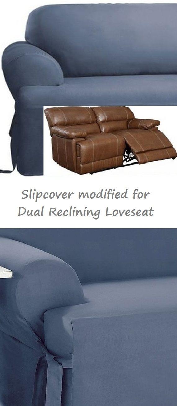 Dual Reclining Loveseat Slipcover T Cushion Cotton Blue