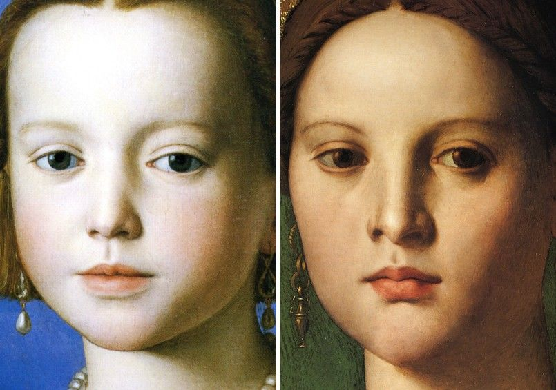 Maria de' Medici at the age of around five (left) and the age of around 15 (right).