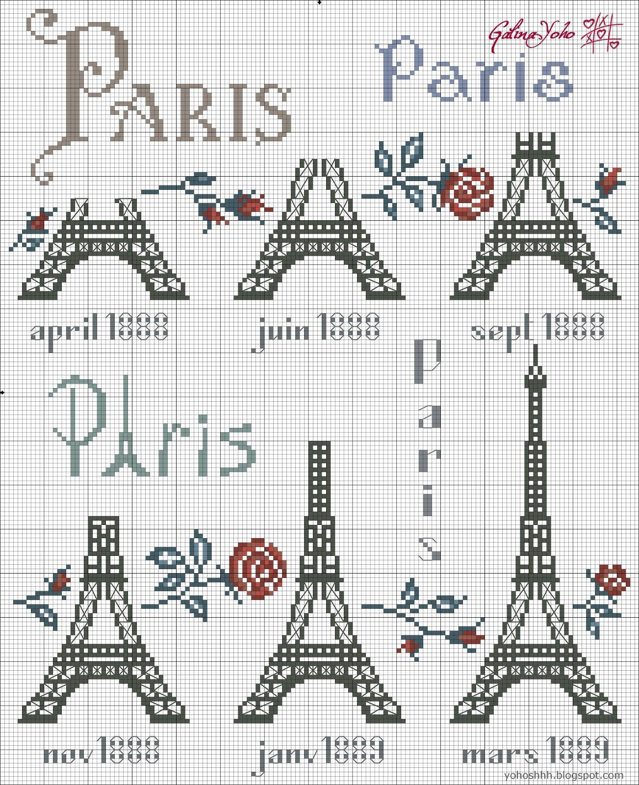 Eiffel Tower   Paris cross stitch   Pinterest   Kreuzstich ...