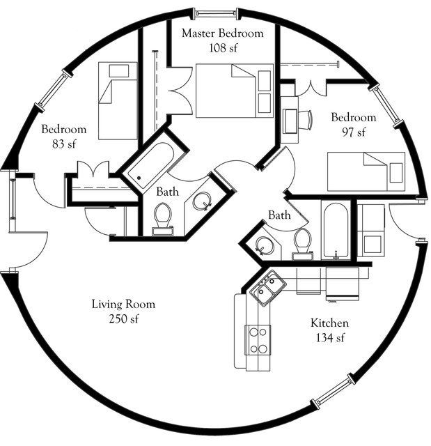 Image ariel ii smaller monolithic dome floor plan for Round homes floor plans