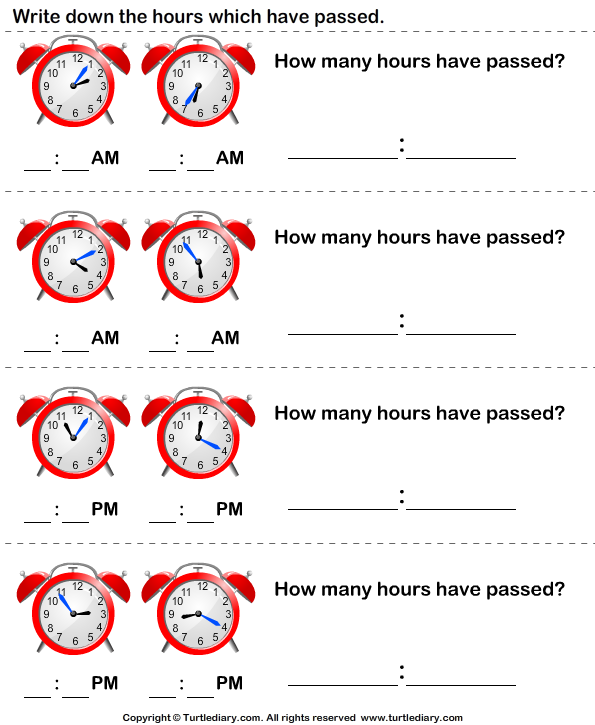 Elapsed Time Worksheets  Elapsed Time   Lesson Plans
