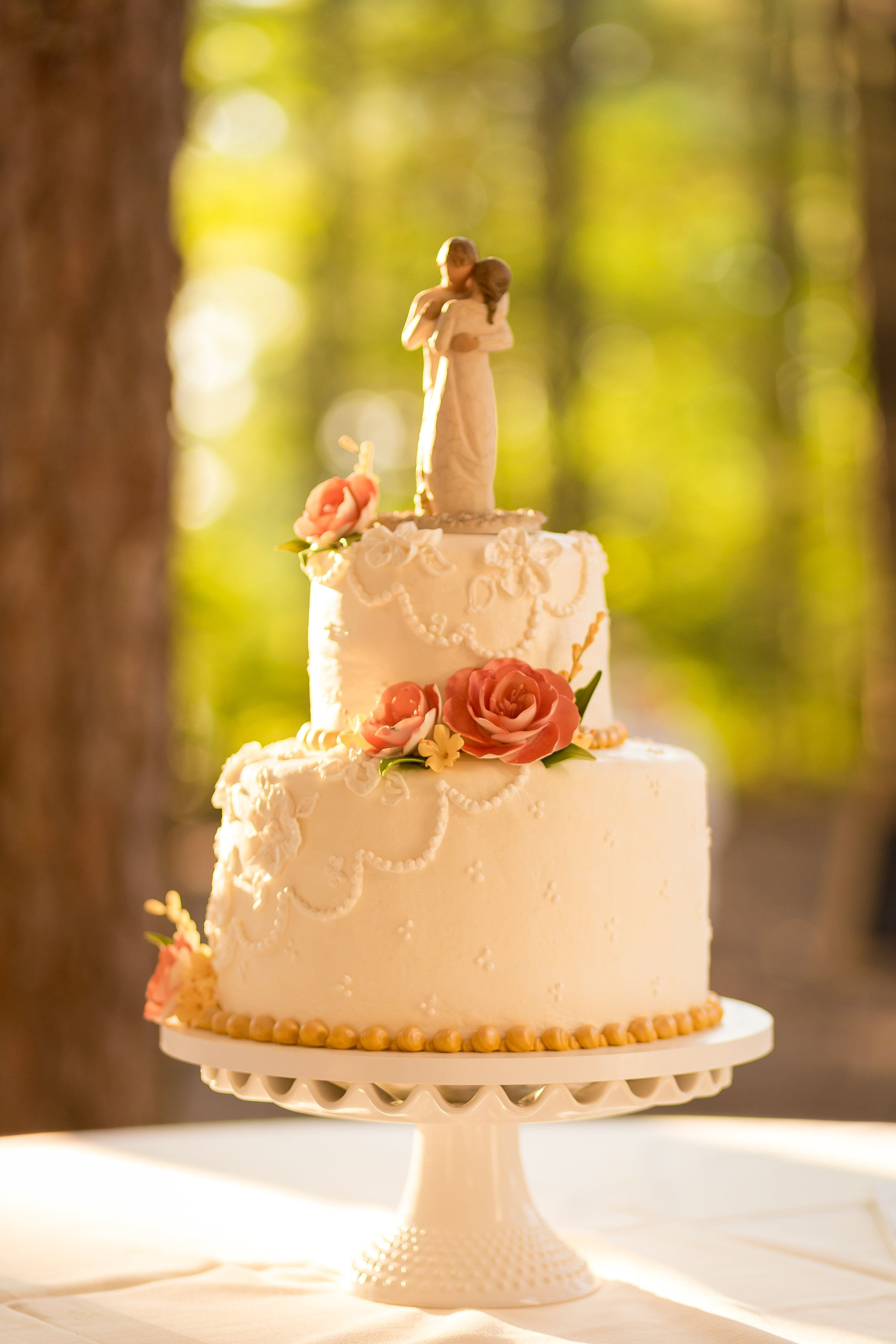 Wedding Cake By Baker S Kitchen With The Willow Tree Cake Topper