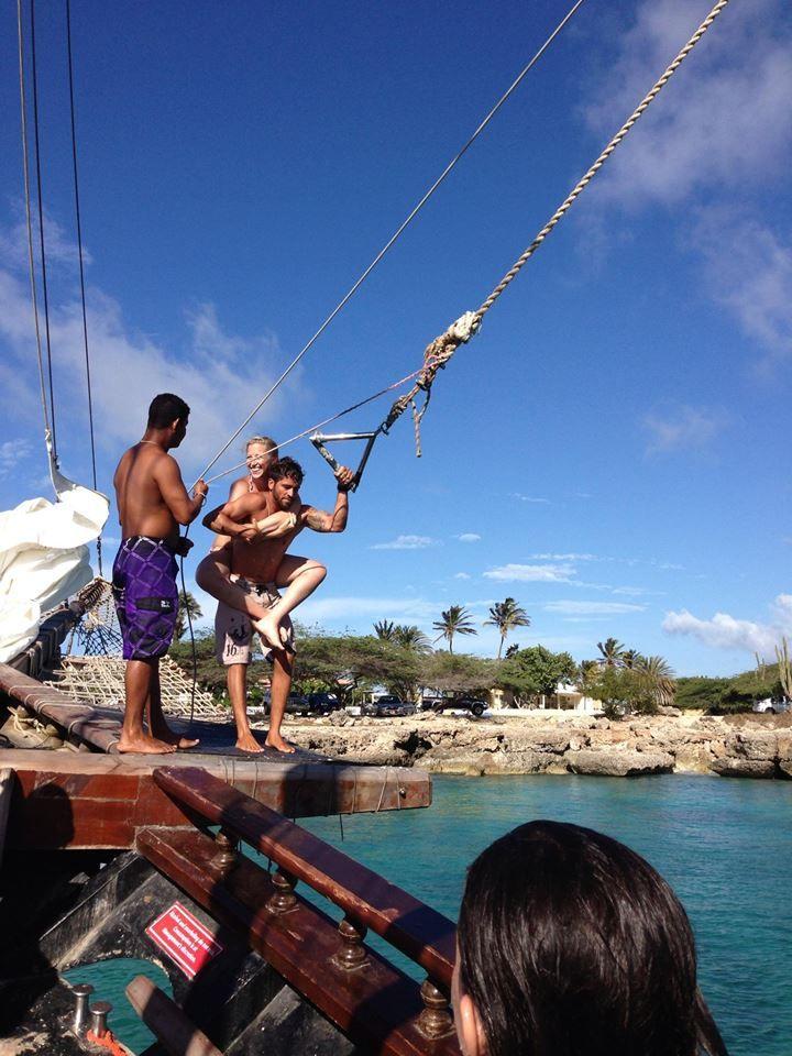 Rope swing on the Jolly Pirates Aruba