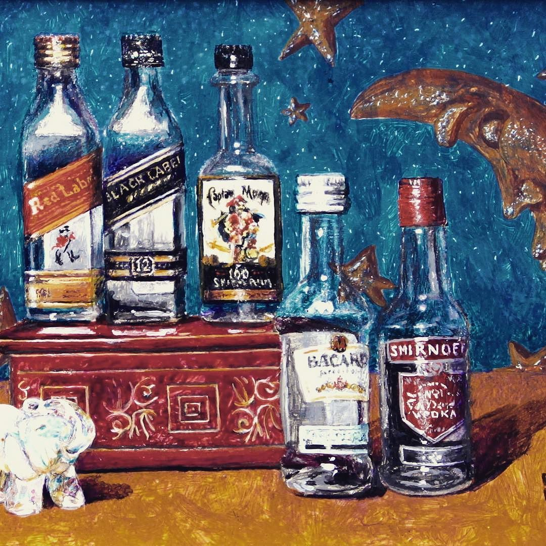 """Thank you @ellisnicholsongallery for finding a home for """"Nightcap""""  #miniaturepainting #acrylic 4x6"""