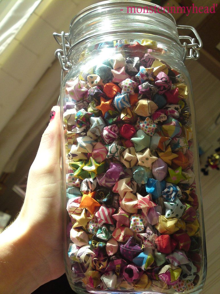 lucky paper star origami in a jar decorating ideas