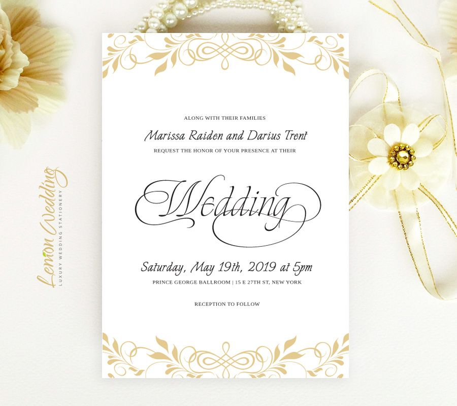 With purple not gold gold wedding invitations printed on white gold wedding invitations printed on white pearlescent cardstock which is the best choice for traditional wedding set includes 5x7 invitation with stopboris Images