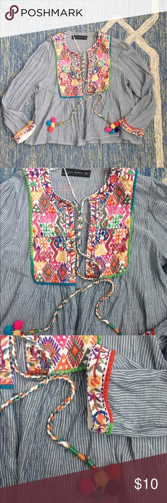 Zara Embroidered Pom Pom Summer Jacket Small Pinterest Summer