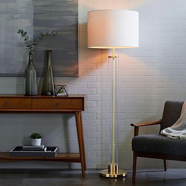 Acrylic Column Floor Lamp - Antique Brass #westelm
