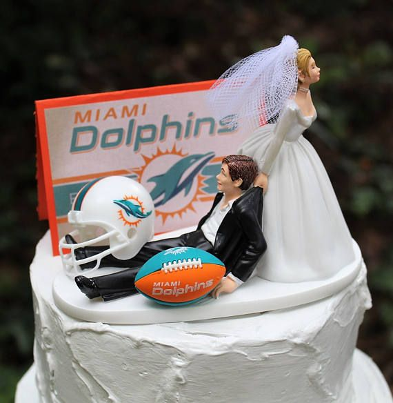 Miami Dolphins Wedding Cake Topper Football