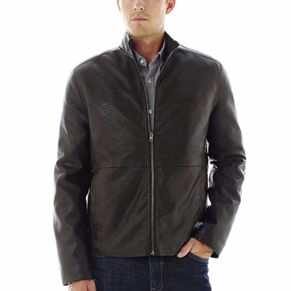 Claiborne Jacket Faux Leather Black Solid Zip Front Lined Men S Size Xl New Jackets Mens Jackets Sportcoat