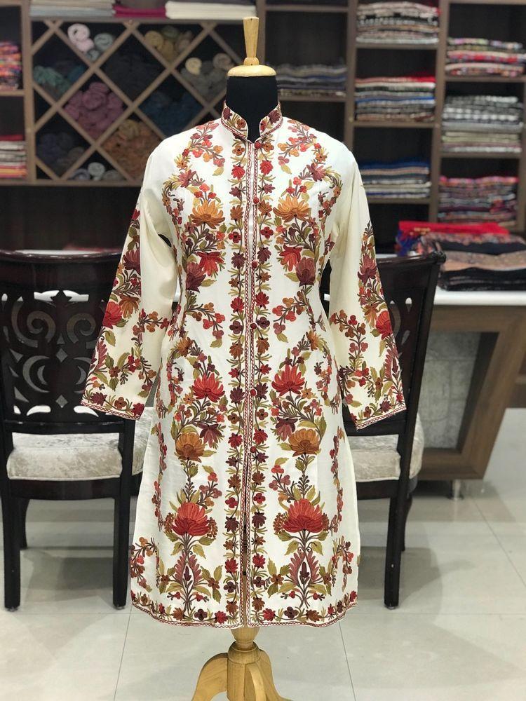 ff26cac7a Long Jacket, Embroidered Jacket, Kashmiri Jacket, White Jacket, Women Boho  Coats #AngadCreations #EmbroideredJacket #kashmiri #aari #embroidery  #kashmir ...