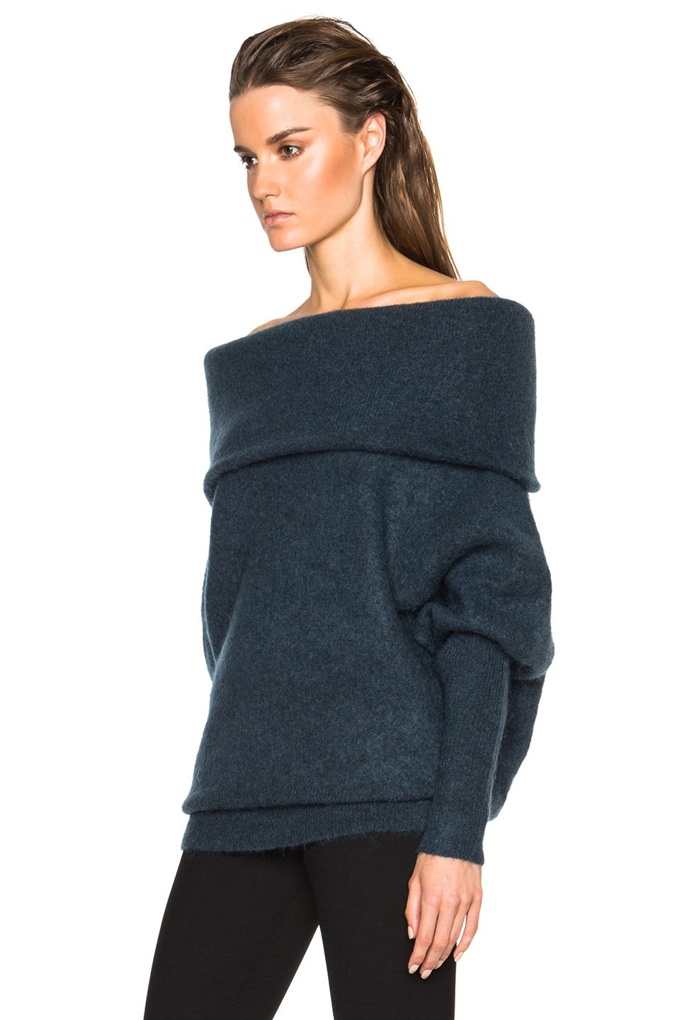 a9026e94bdf0 Image 2 of Acne Studios Daze Mohair Off the Shoulder Sweater in Dusty Blue