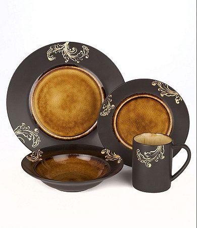 Available at Dillards.com Gourmet Expressions \ Honey Damask\  Dinnerware ...  sc 1 st  Pinterest & Available at Dillards.com Gourmet Expressions \