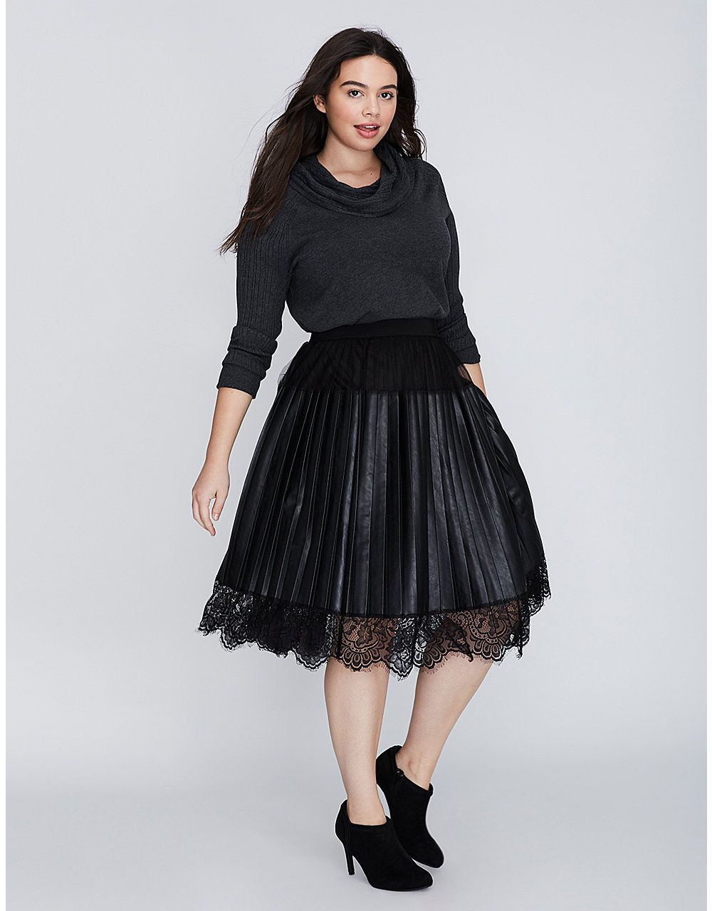 930e441e562 Pleated Faux Leather Skirt with Lace Trim