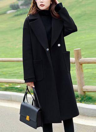 Long Sleeve Lapel Pockets Coats Coat, Best Winter Coat Uk 2019