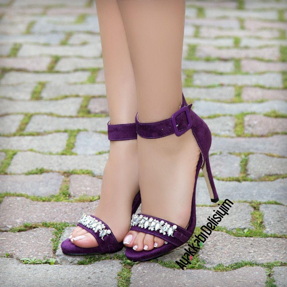 Mor Tasli Topuklu Ayakkabi Purpleshoes Purple Heels Topuklular Topuklu Ayakkabilar Bayan Ayakkabi
