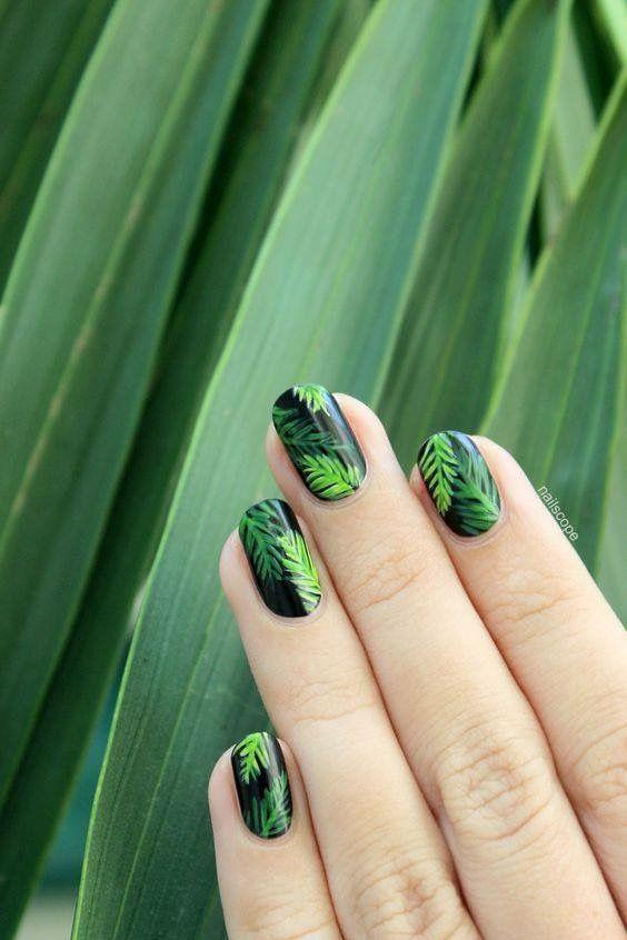 Green foliage on black | Nail Art | Pinterest | Black, Manicure and ...