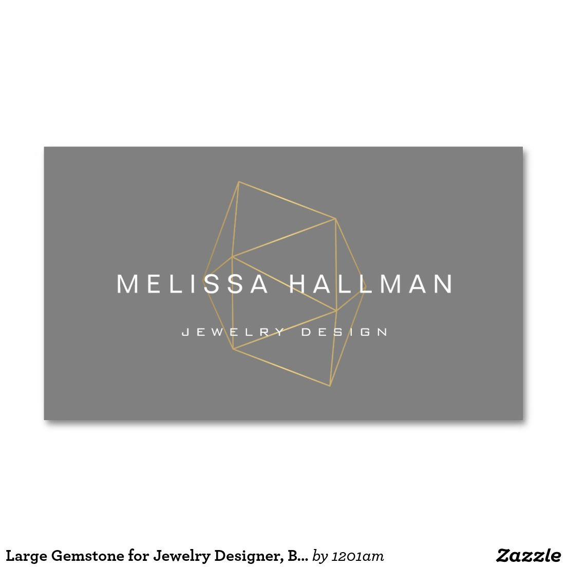 Large Gemstone for Jewelry Designer, Boutique Gray Business Card ...