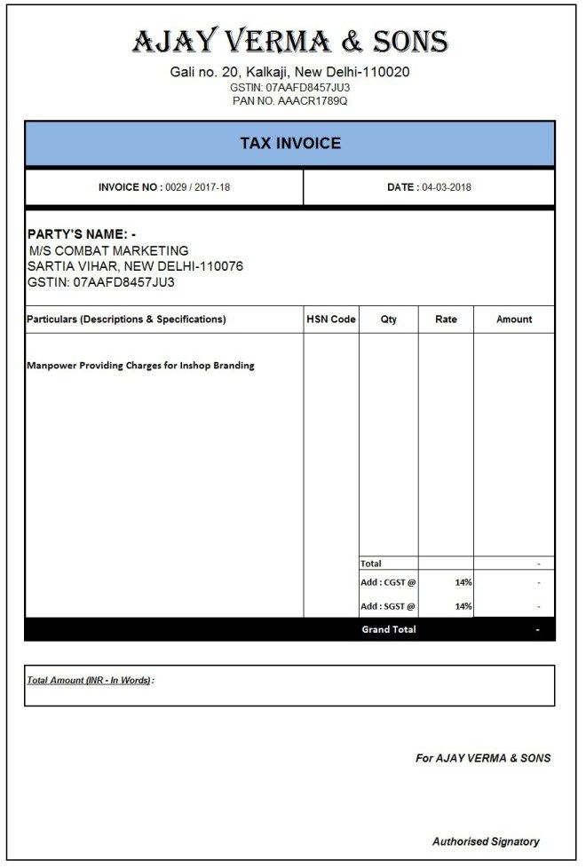 Pin By Rohit Chakunde On Format Invoice Format In Excel Invoice