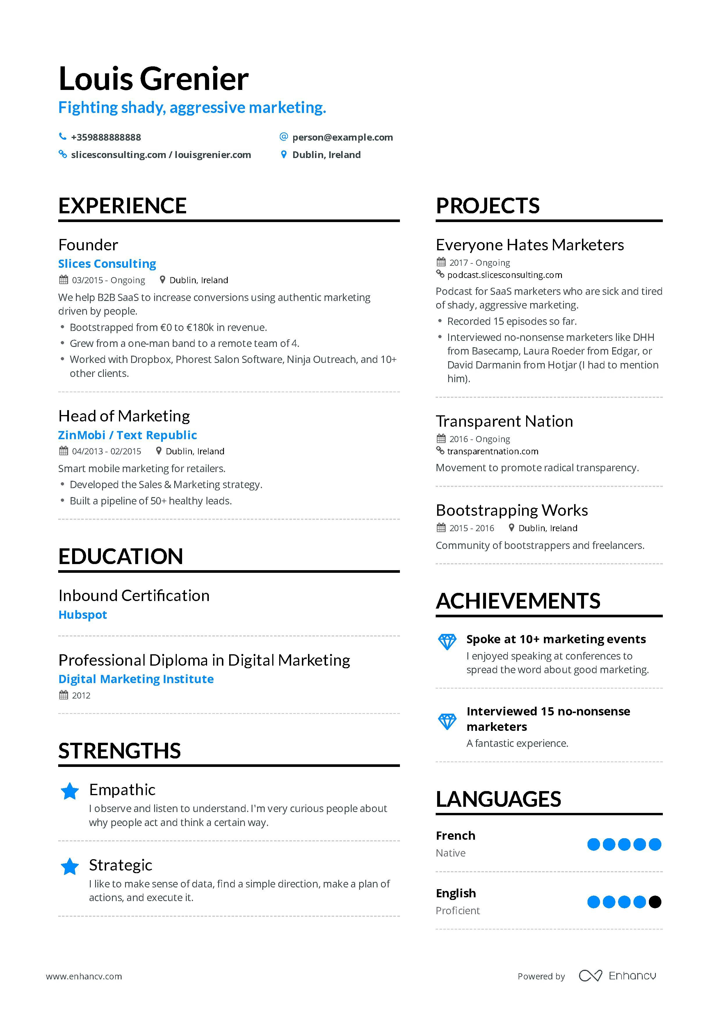 Marketing Consultant Resume Example And Guide For 2019 Resume Examples Marketing Resume Job Resume Examples