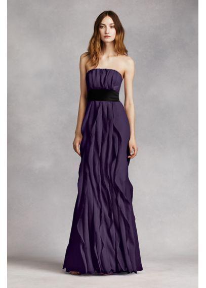 addfbf44565 Strapless Crinkle Chiffon Dress with Mikado Sash