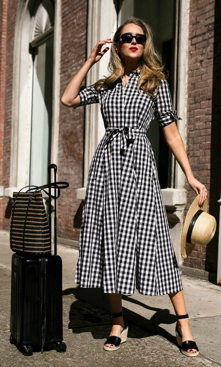 Click for outfit details! // Short sleeve black and white gingham midi dress,  black suede wedge sandals, wide brim tan bolero straw hat, black oval…