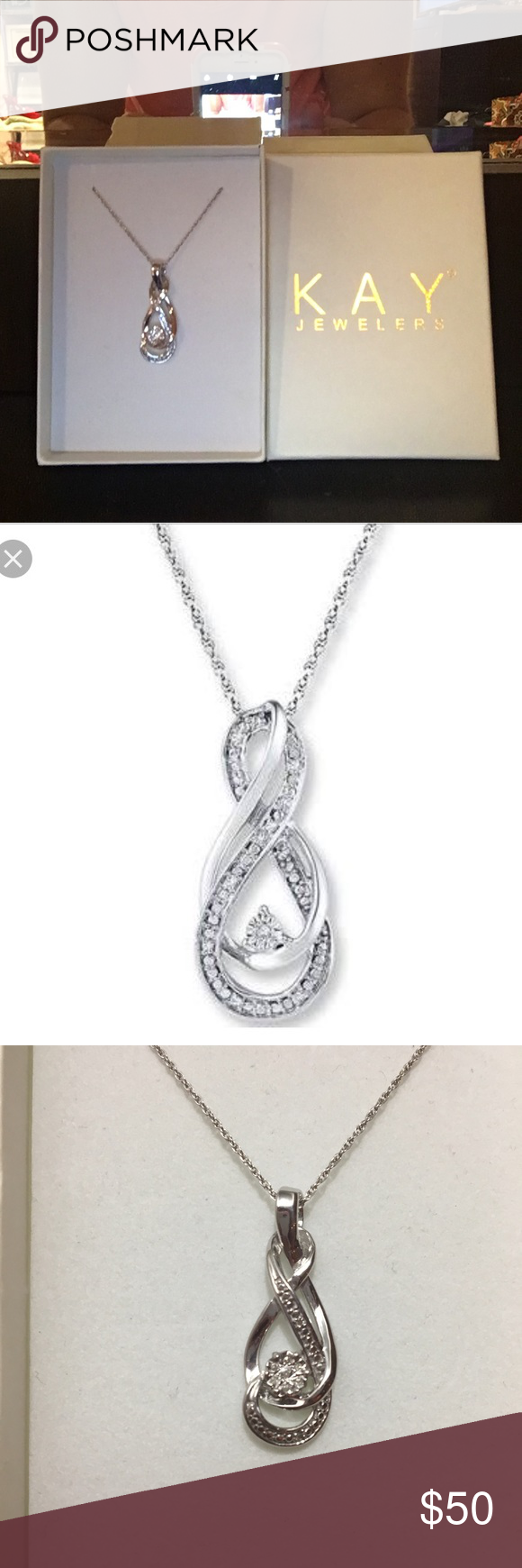 jewelers ct black white tw infinity heart caymancode necklace k kay gold diamonds