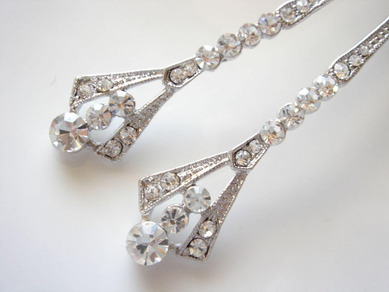 Samantha II Striking Long Dramatic Art Deco Swarovski Crystal Earrings