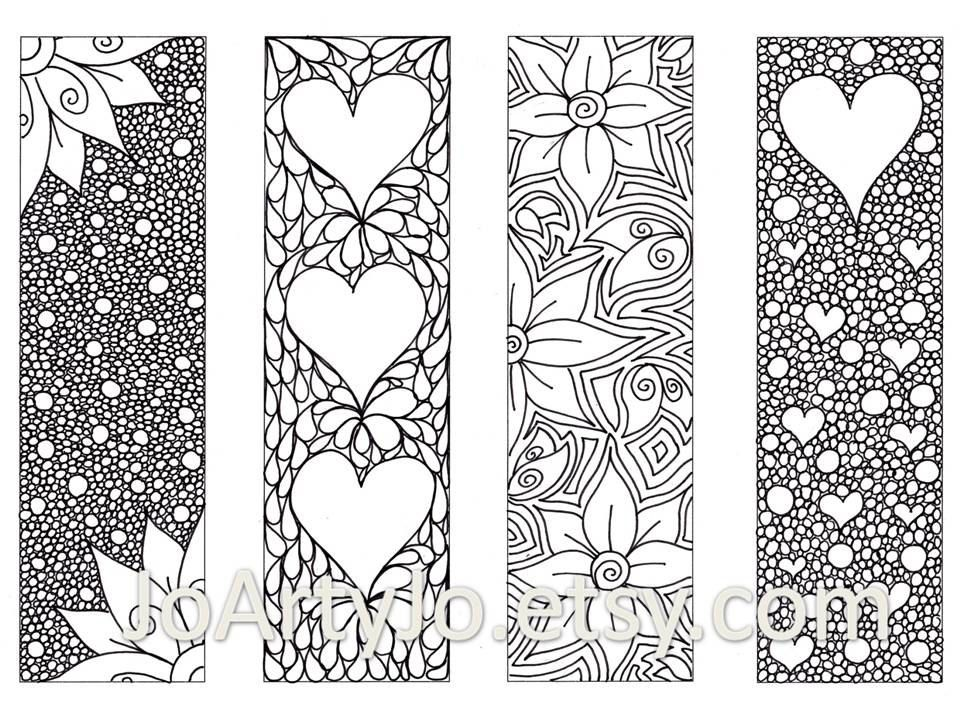 Zendoodle Printable Bookmarks, Zentangle Inspired Hearts and Flowers ...