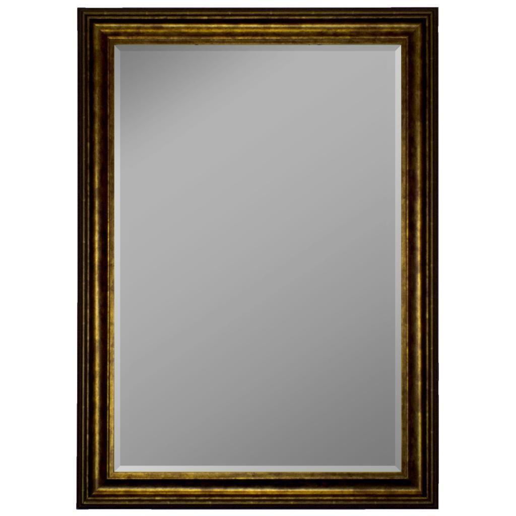 Austrian Stepped Mahogany Silver Trim Framed Wall Mirror (18x36 ...