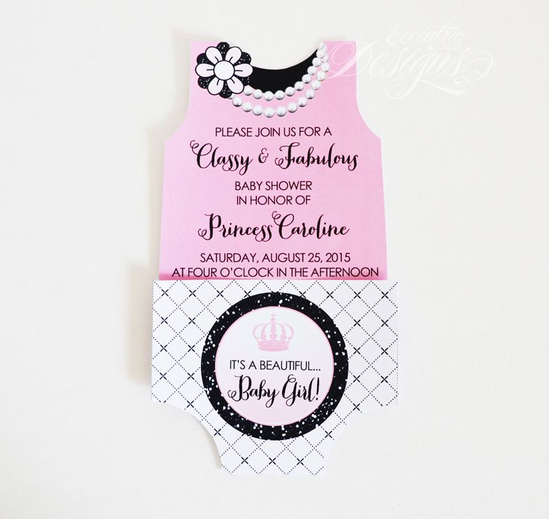 Coco Chanel Baby Shower Or First 1st Birthday Party Invitation