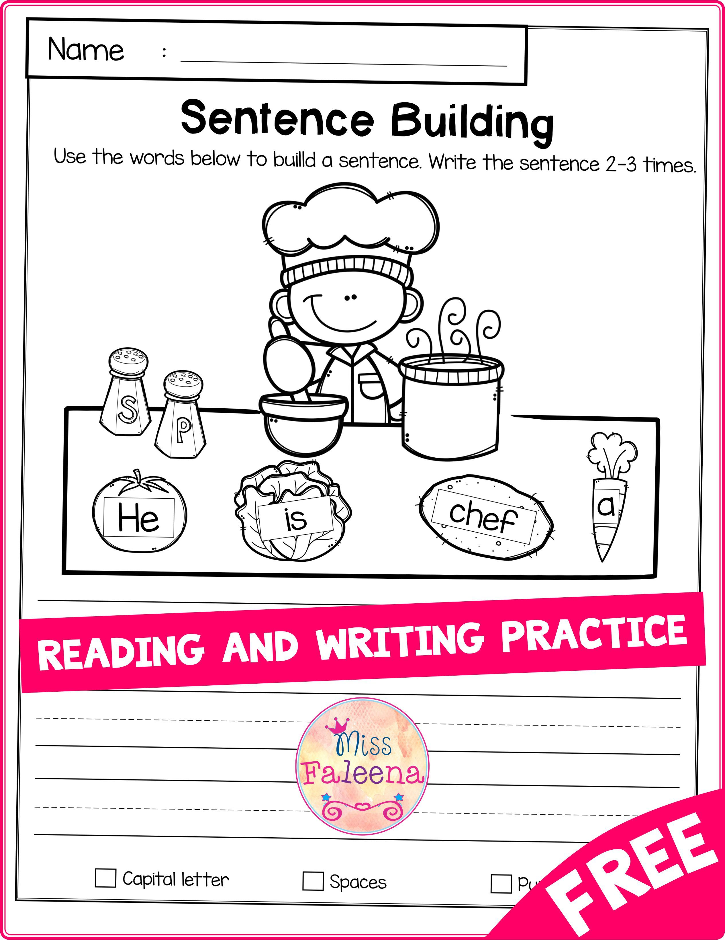 Free Reading And Writing Practice Di Dengan Gambar