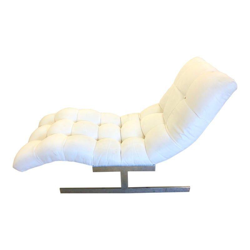 Milo Baughman Style Flat Bar Wave Chaise Lounge In 2020 Milo Baughman Baughman Chaise