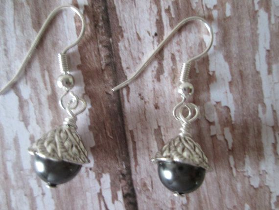 Silver Dark Gray Black Pearl Dangle Drop Earrings by BeadLove14