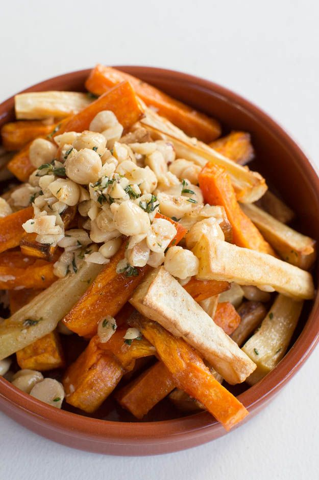Roasted Parsnips and Sweet Potatoes w/Hazelnuts and Brown Butter    blog.sfcooking.com #vegetarian #recipes #glutenfree