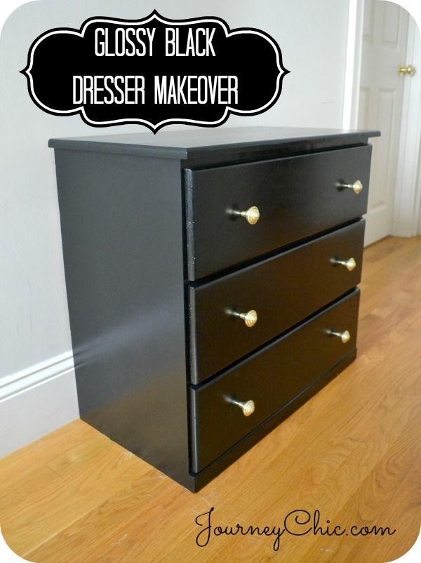 Glossy Black Dresser Makeover Dresser Makeover Black Dressers Furniture Makeover