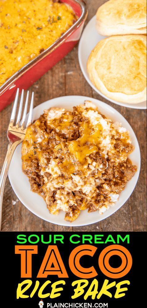 Taco Sour Cream Rice Bake - Plain Chicken