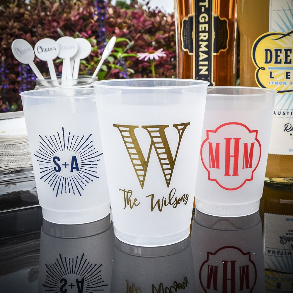 We love a traditional monogram, but why not mix it up?! Browse our monogram variations to find the perfect design for your next party!  •⠀ • •⠀ • •⠀ • #personalizedcups #weddingcups #monogrammedcups #customcups #personalizedpartygoods #poolparty #beachparty #lakeparty #etsyshop #etsyshopowner #etsystore #shatterproofcups #frostflexcups #printedcups #partycups #personalizedpartycups #springwedding #summerwedding #bridalshower